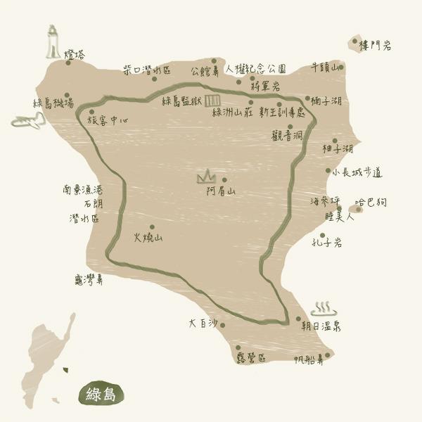 旅遊景點-綠島map